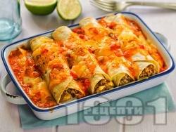 Печени енчиладас от тортила на фурна с телешка кайма, домати, чедър и моцарела - снимка на рецептата